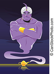 Genie - A vector illustration of a genie coming out of the...
