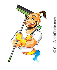 genie male were carrying brooms and brushes to clean something with arms crossed and a big smile happy