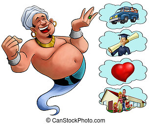 genie desires - happy fat genie smiley in the moment when he...