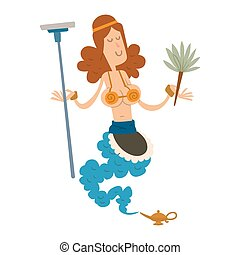 genie djinn cleaning girl character magic lamp flat vector illustration treasure arabian aladdin miracle coming out on white background housekeeping