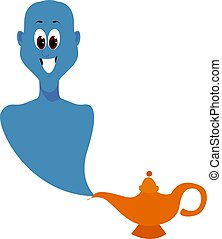 Genie from lamp, illustration, vector on white background.