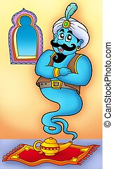 Genie from lamp on carpet - color illustration.