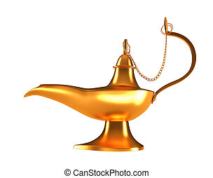 Genie golden lamp isolated on white - Genie golden lamp...