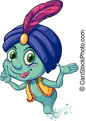 Genie - Illustration of a blue genie smiling