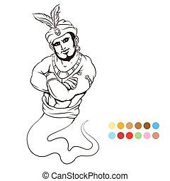 genie, kleuren, pagina
