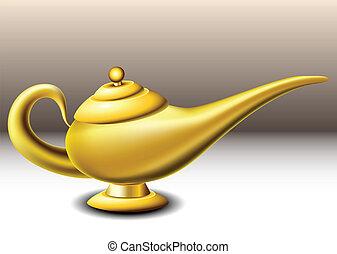 Genie lamp - Golden genie lamp on brown background