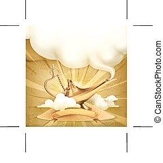 genie lampa, ilustracja
