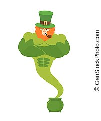 Genie leprechaun. magical spirit of St. Patrick's Day Green pot with gold. powerful old man wit Red Beard and smoking a pipe. Magic he fulfills desires. Illustration for Irish holiday March 17