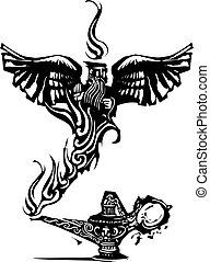Genie of the lamp - Woodcut expressionistic image of a magic...