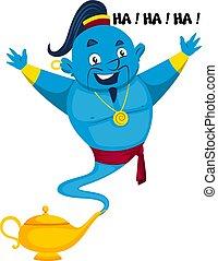 Genie smiling, illustration, vector on white background.