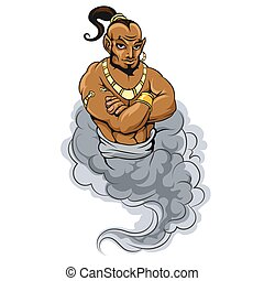 Genie vector icon - Genie coming out of a magic lamp. Genie...