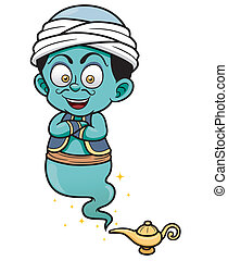 Genie - Vector illustration of genie just came out of the...