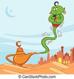 Genie wishing Eid mubarak, Happy Eid in vector