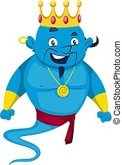 Genie with crown, illustration, vector on white background.