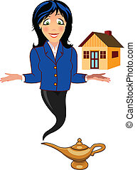 genie with house - A genie with a house hovering over her...
