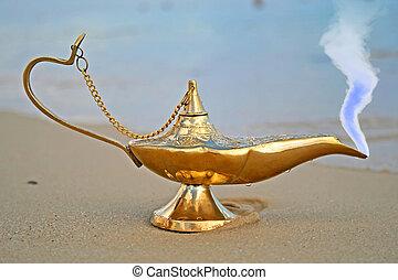 genies, lampe, rivage