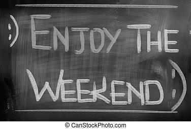 genieten, de, weekend, concept