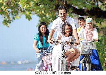 genieten, geitjes, fiets, gezin, buiten, paardrijden, strand