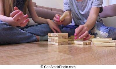 genieten, houten, toren, spel, gezin