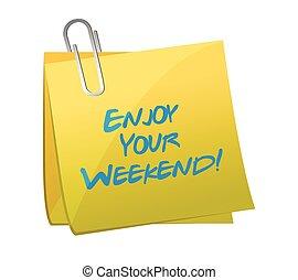 genieten, illustratie, post., ontwerp, weekend, jouw