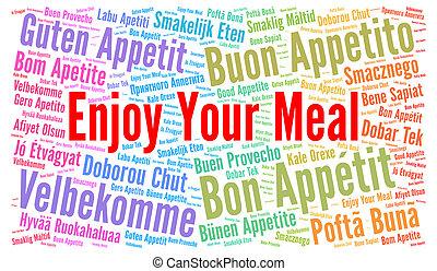 genieten, jouw, maaltijd