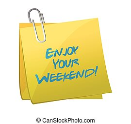 genieten, jouw, weekend, post., illustratie, ontwerp