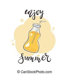 genieten, lettering, drank, fles, zomer