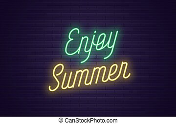 genieten, lettering, tekst, neon, gloeiend, summer.