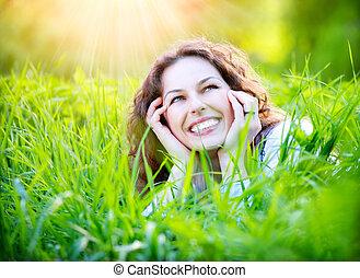 genieten, outdoors., vrouw, jonge, natuur