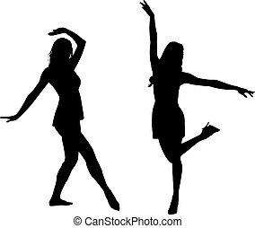 genieten, silhouette, vrouwen