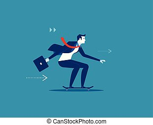 genieten, speed., zakenman, zakelijk, skateboard., illustration., concept