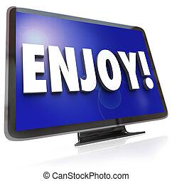 genieten, televisie, woord, amusement, hdtv, programma
