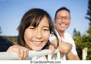 genieten, vader, dochter, aanzicht