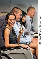 genieten, vlucht, businesswoman, jonge, glas, champagne