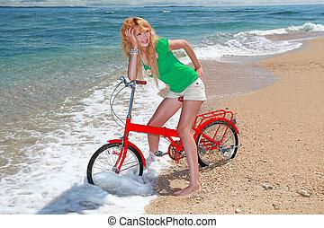 genieten, vrouw, strand, zonlicht