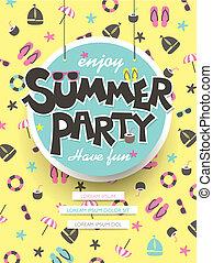 genieten, zomer, feestje, poster