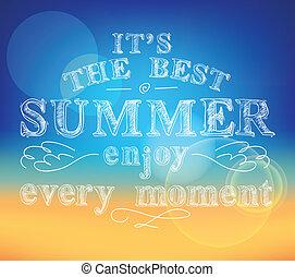 genieten, zomer, poster