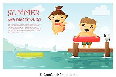 genieten, zomer, tropische , 3, achtergrond, vakantie
