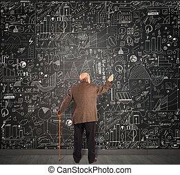 genio, anziano, affari