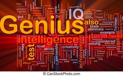 genio, ardendo, concetto, fondo, intelligenza