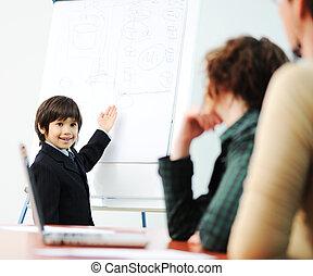 genio, presentazione, affari, capretto