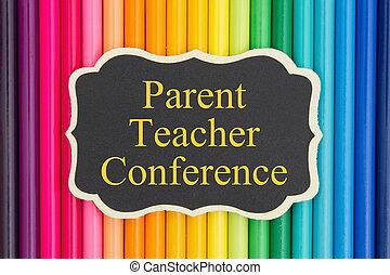 genitore, conferenza, insegnante, messaggio