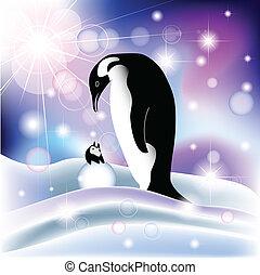 genitore, e, bambino, pinguino, in, nevoso, fondo