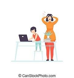 genitore lavorante, ufficio, nervoso, lavoro, giovane, illustrazione, vettore, computer, freelancer, madre, casa, bambini, tentando, gioco, capretto