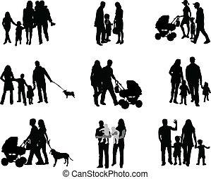 genitori, bambini, silhouette