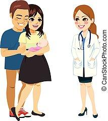 genitori, parlare, dottore