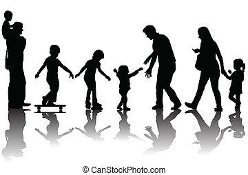 genitori, silhouette, bambini, parco