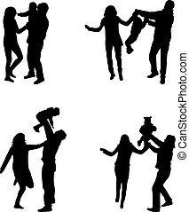 genitori, silhouette, bambini