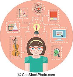 Genius Girl Concept - Conceptual illustration of a genius...