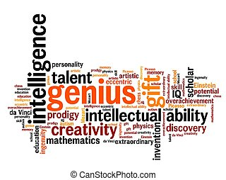 Genius issues and concepts word cloud illustration. Word collage concept.